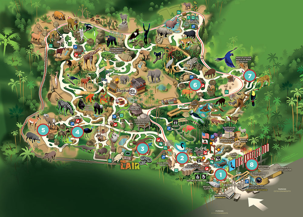Map of the L.A. Zoo Baja interest points